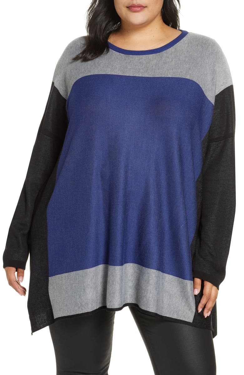 SINGLE THREAD Colorblock Tunic Sweater, Main, color, BLUE DEPTHS/ HGREY