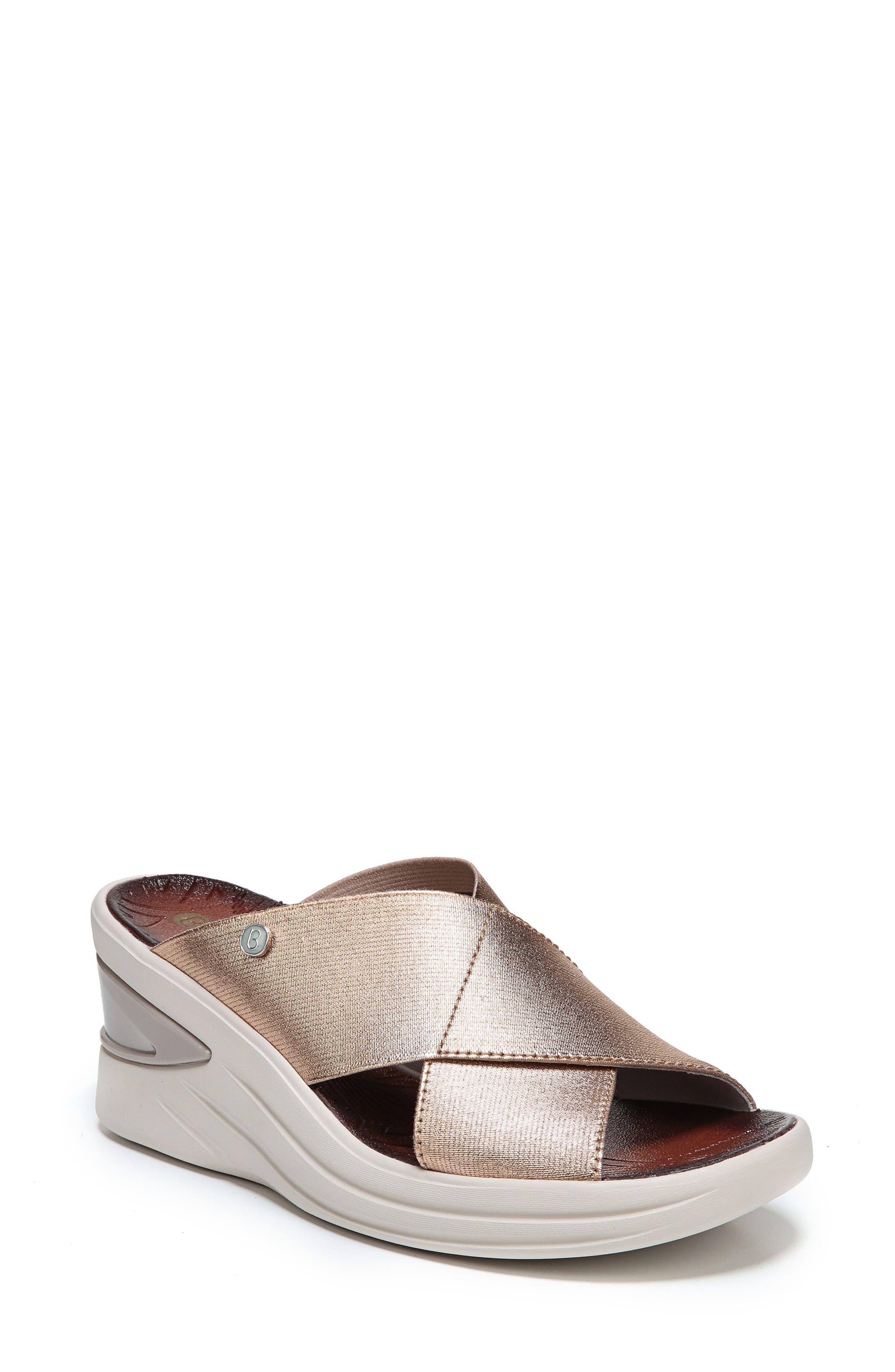 Bzees Vista Slide Sandal- Metallic