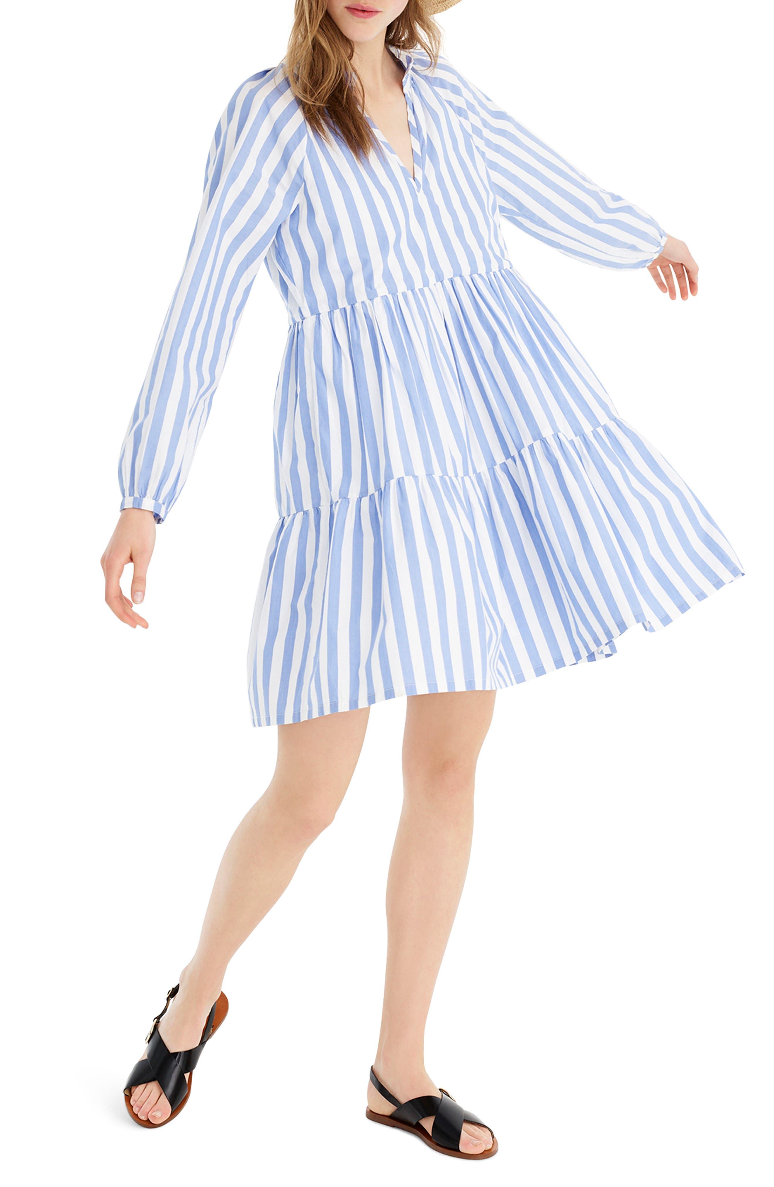 J.crew Tiered Popover Dress In Striped Poplin, Blue