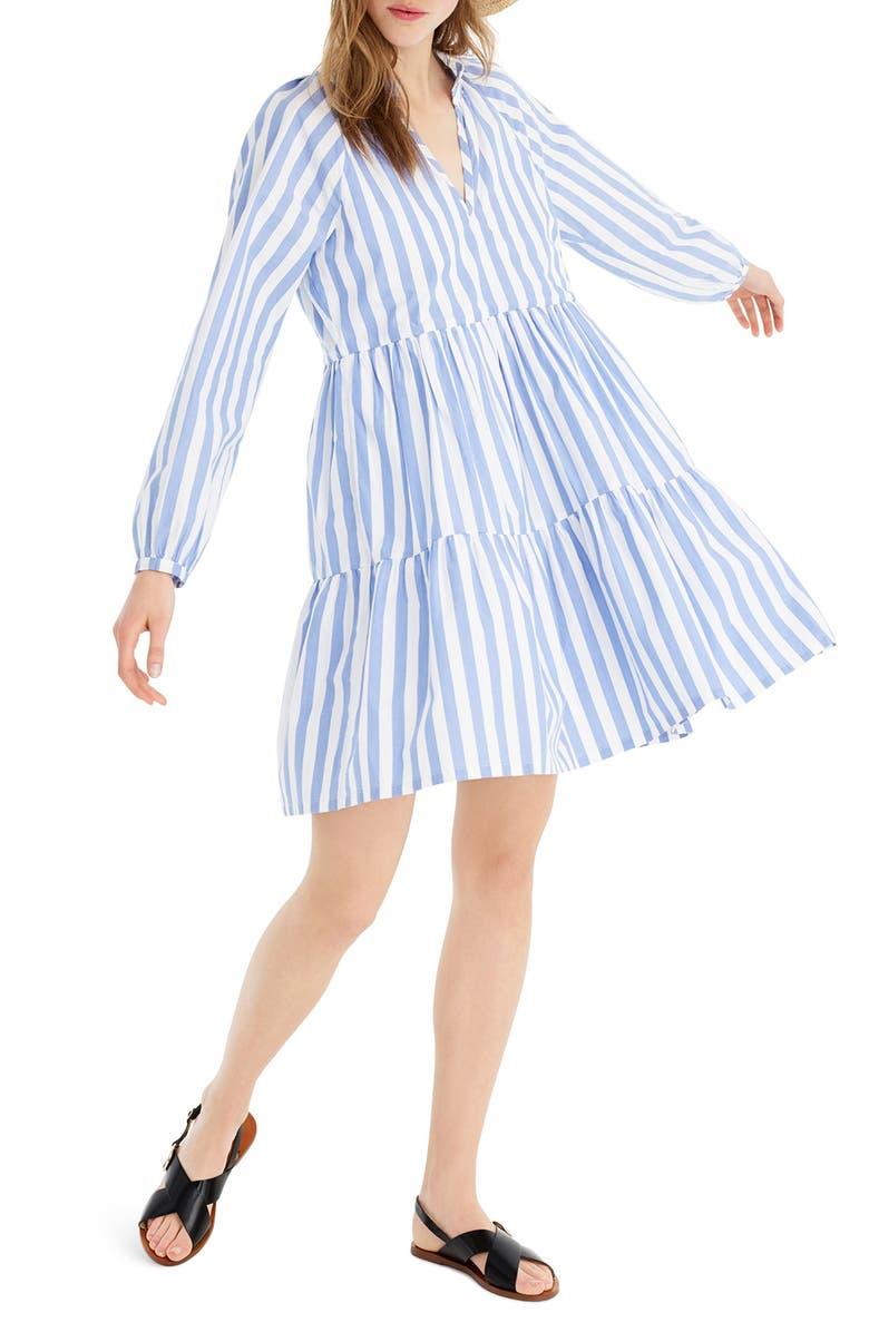 J.CREW Tiered Popover Dress in Striped Poplin, Main, color, 400