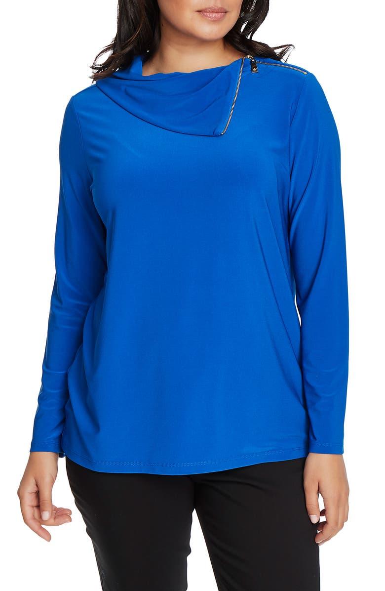 CHAUS Cowl Neck Top, Main, color, GIANNI BLUE