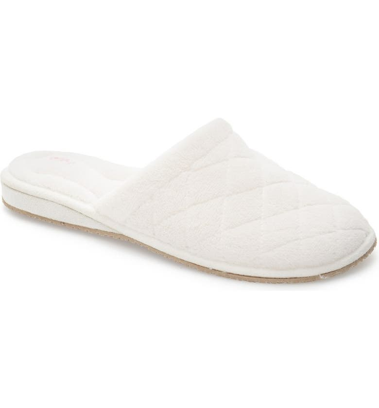 PATRICIA GREEN 'Aria' Plush Slipper, Main, color, WHITE POLYESTER