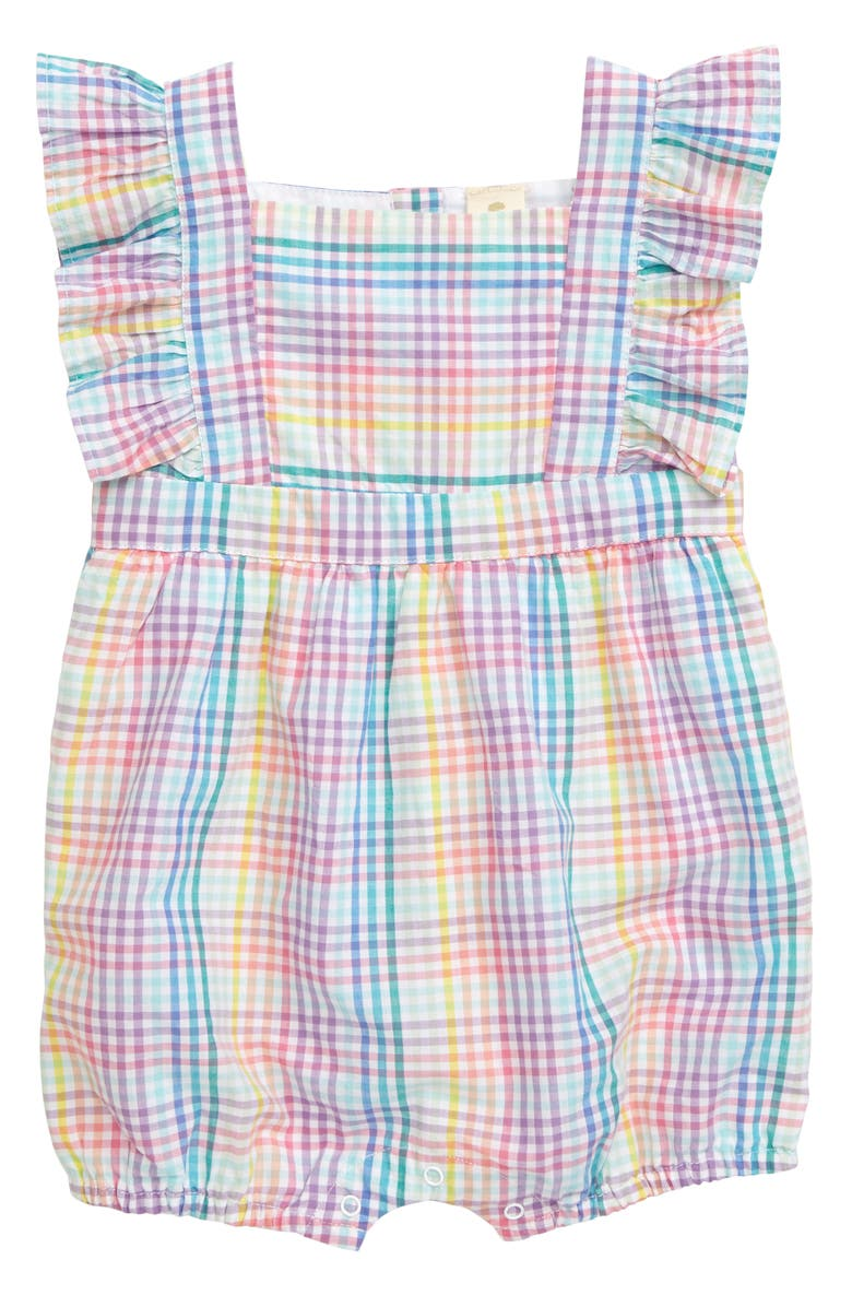 TUCKER + TATE Rainbow Check Bubble Romper, Main, color, WHITE RAINBOW CHECK
