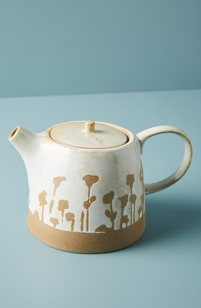 ANTHROPOLOGIE HOME Herbiflora Teapot, Main, color, SAND
