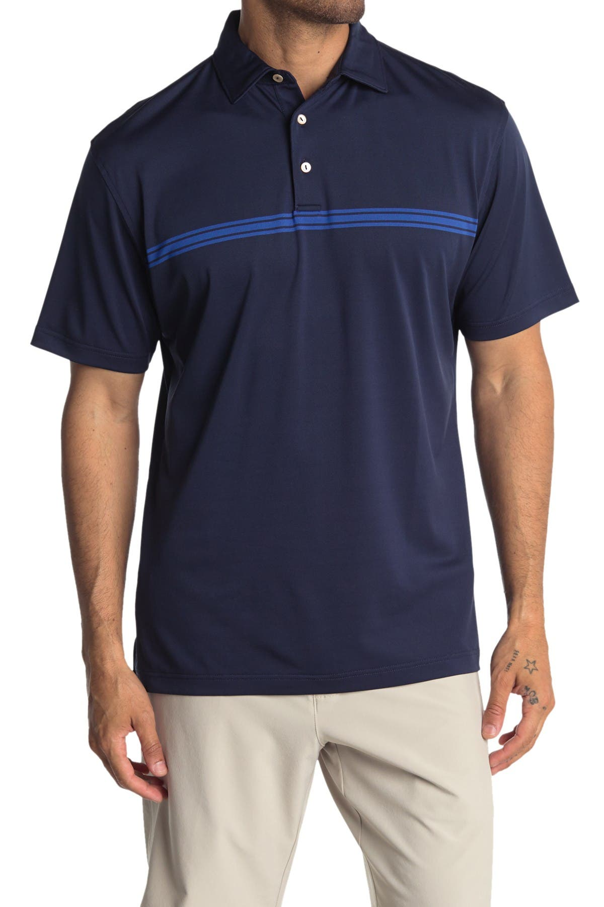 Image of Peter Millar Pacific Stripe Chest Polo Shirt