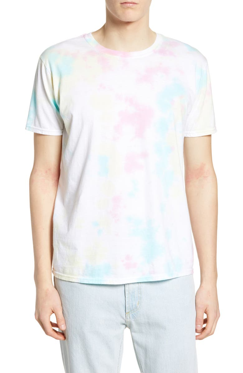 THE RAIL Tie Dye T-Shirt, Main, color, WHITE-PINK MULTI TIE DYE