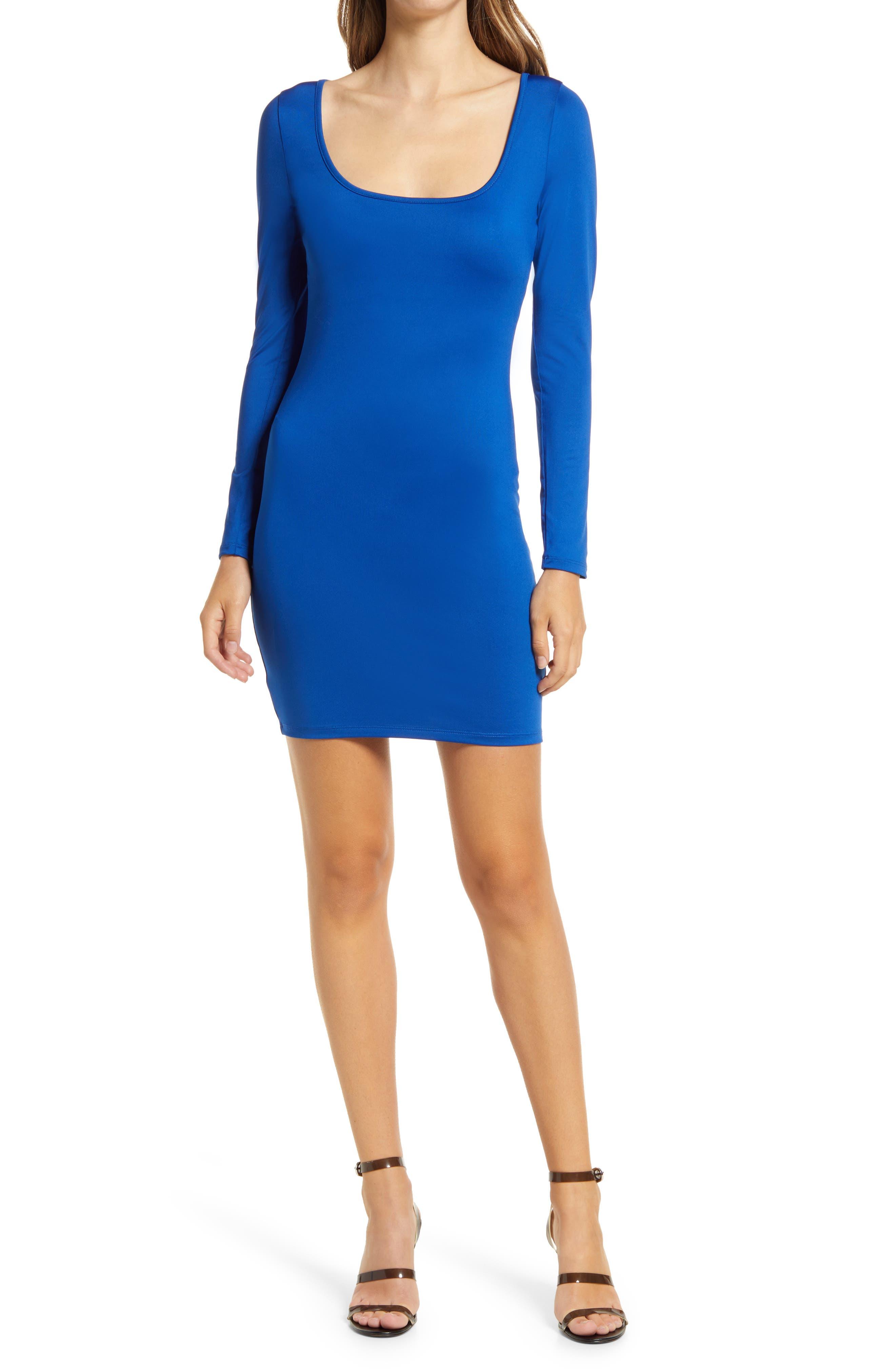 Square Neck Long Sleeve Minidress