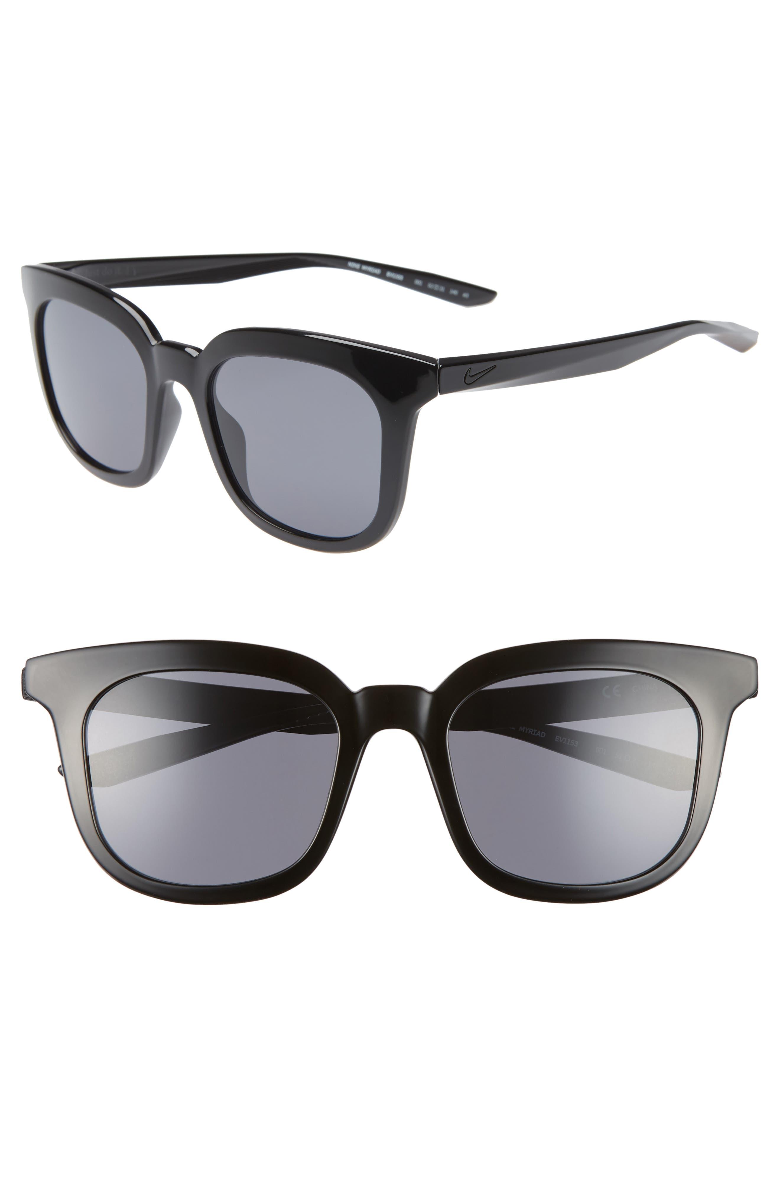 Nike Myriad 52Mm Square Sunglasses - Black/ Dark Grey