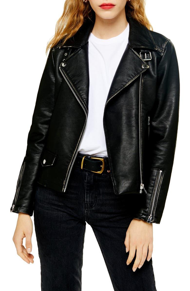 TOPSHOP Lucky Faux Leather Biker Jacket, Main, color, 001