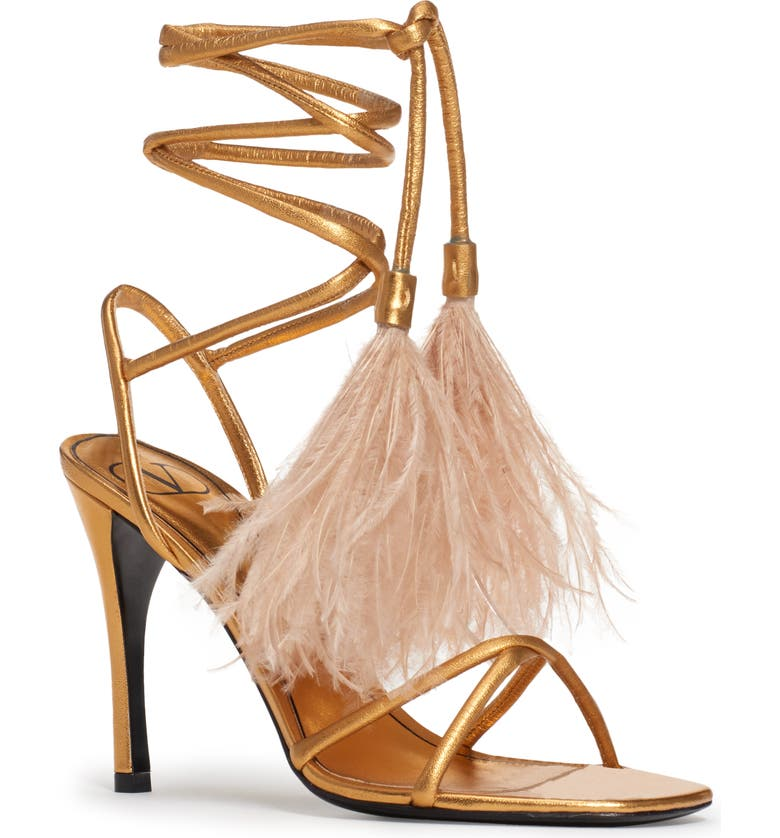 VALENTINO GARAVANI Valentino Upflair Feather Sandal, Main, color, GOLD/ NATURAL