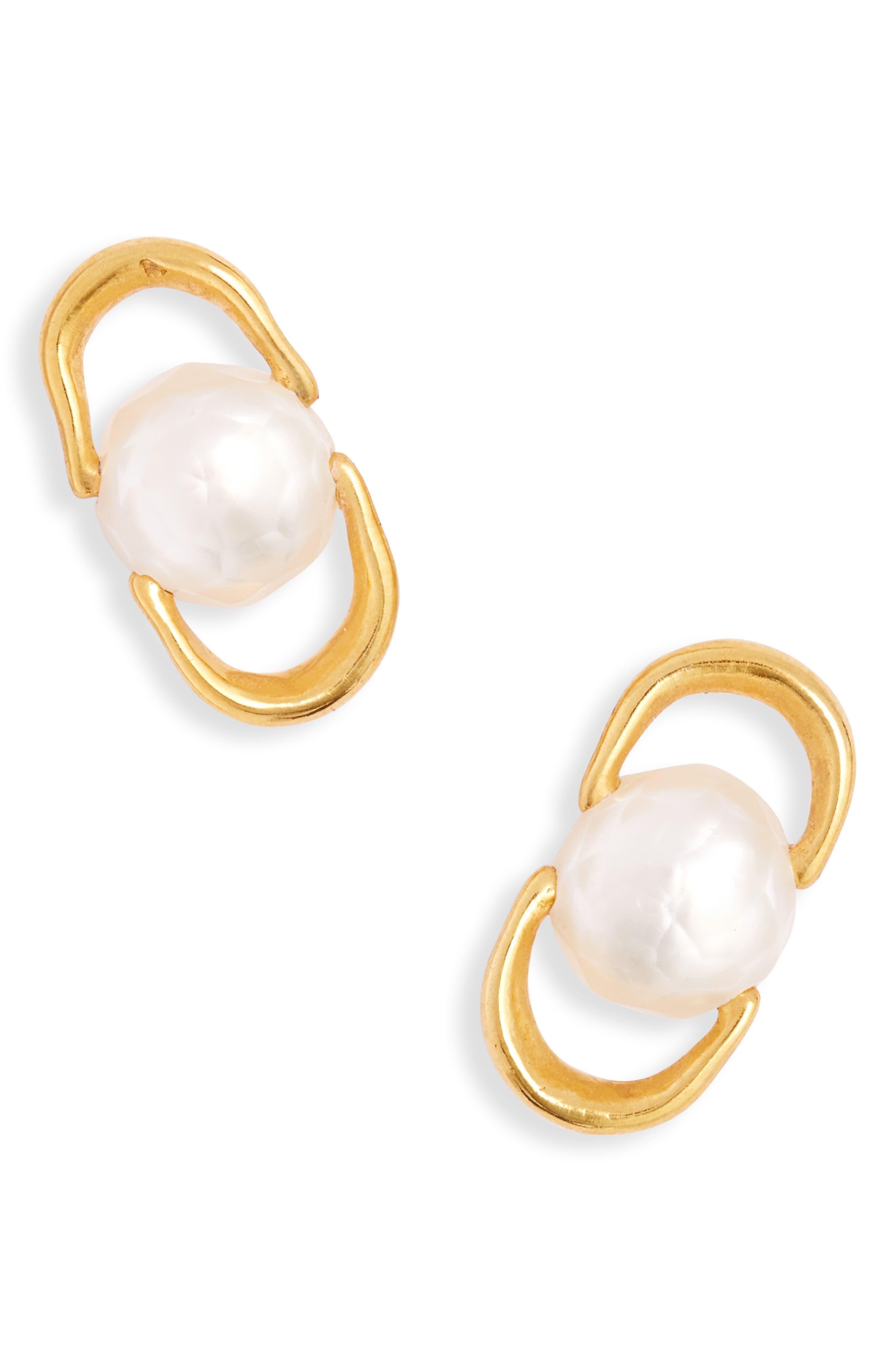 White Baroque Pearl Vermeil Chain Link Earrings