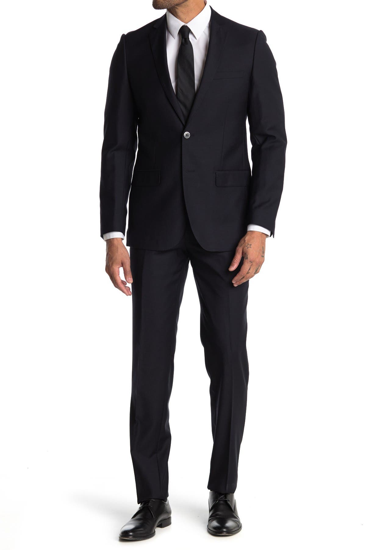 Image of Zanetti Nevy Blue Slim Fit Notch Lapel Two-Button Wool Suit