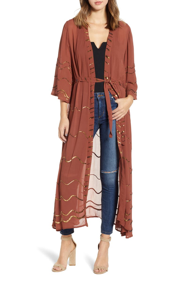NEW FRIENDS COLONY Wavy Sheer Sequin Duster, Main, color, DARK BLUSH