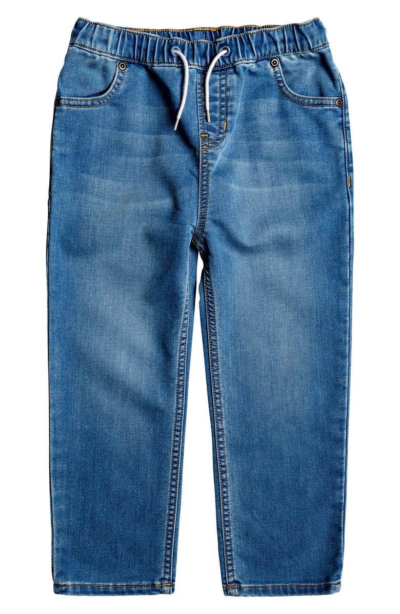 QUIKSILVER Caz Burlei Tie Waist Jeans, Main, color, BLUE USED