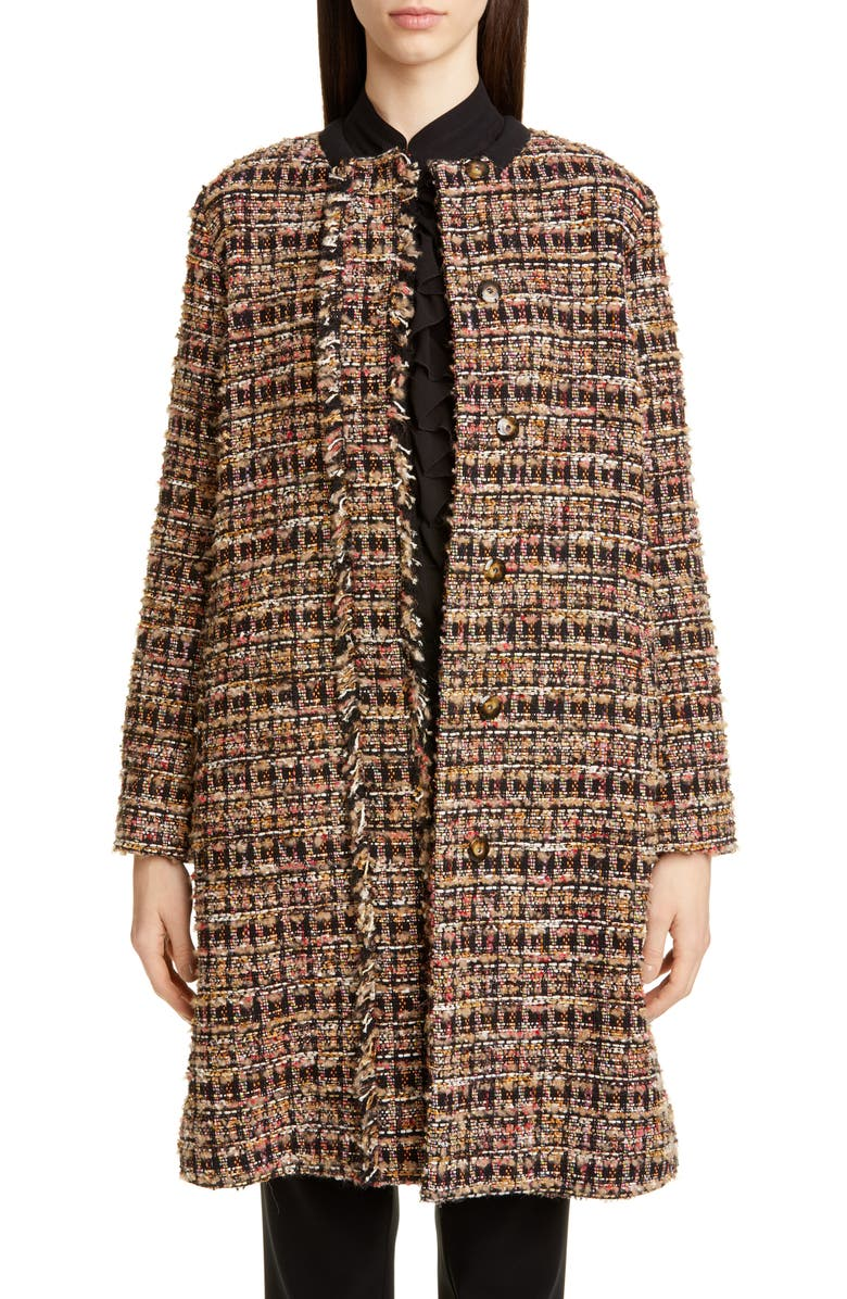 ETRO Long Cotton Blend Tweed Coat, Main, color, 001