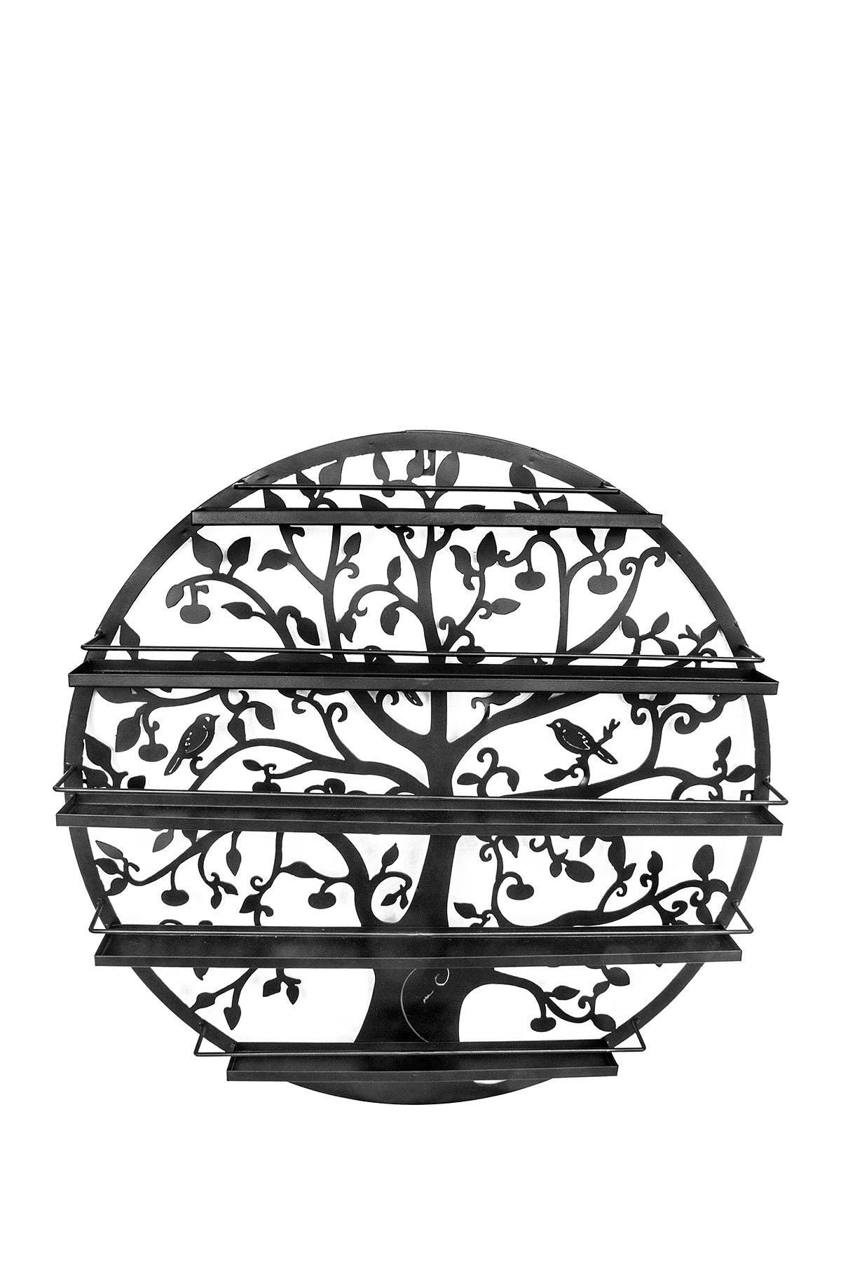 Image of Sorbus Black Tree Silhouette Round Metal Wall Mounted 5 Tier Salon Nail Polish Rack Holder/Wall Art Display