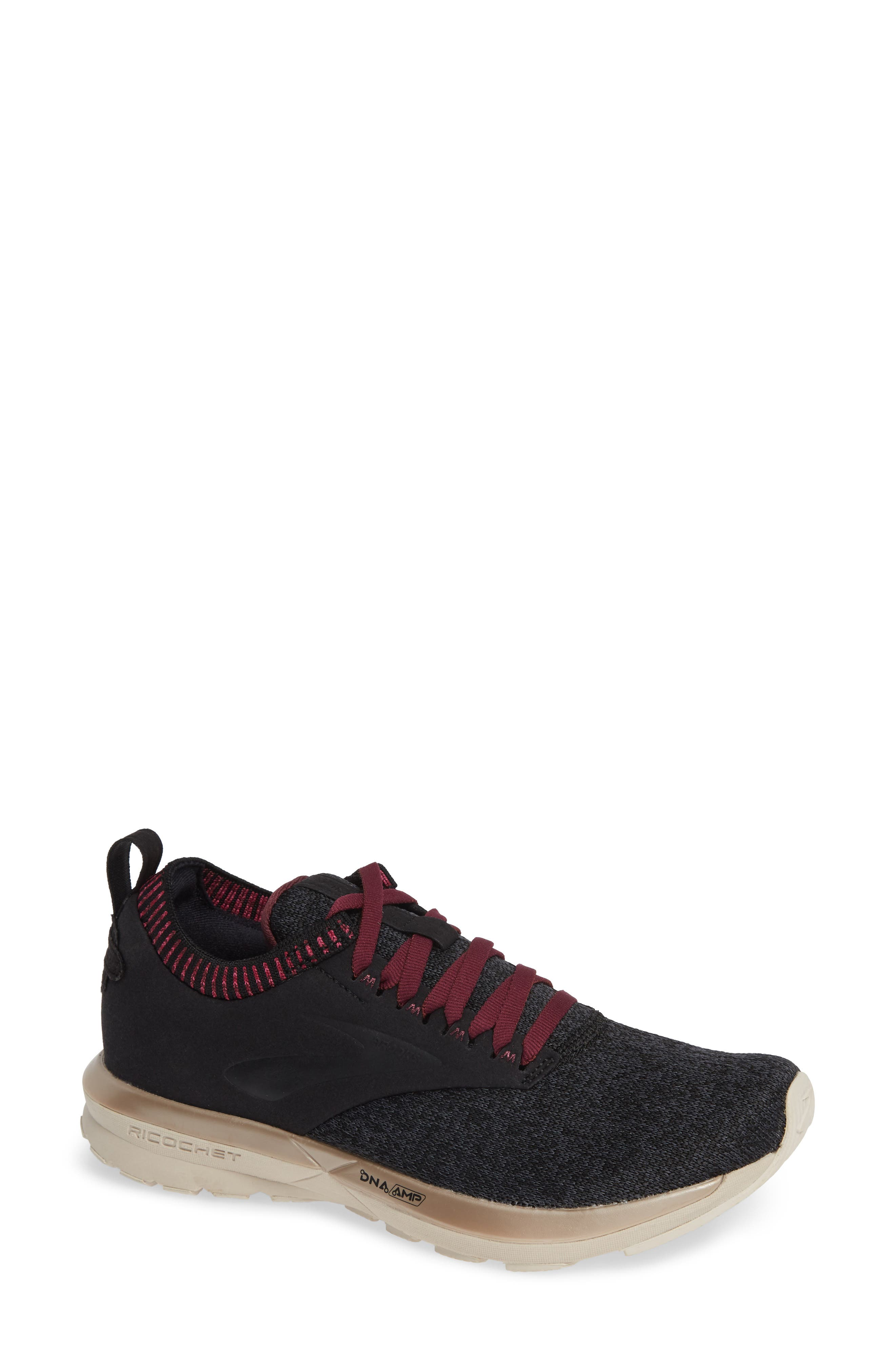,                             Ricochet LE Running Shoe,                             Main thumbnail 1, color,                             BLACK/ GREY/ PINK