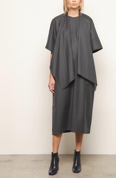 Wool Flannel Midi Cape Dress, video thumbnail