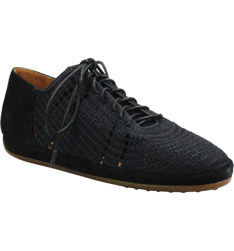 L'AMOUR DES PIEDS Yannic Knit Sneaker, Main, color, BLACK WOVEN/ SUEDE