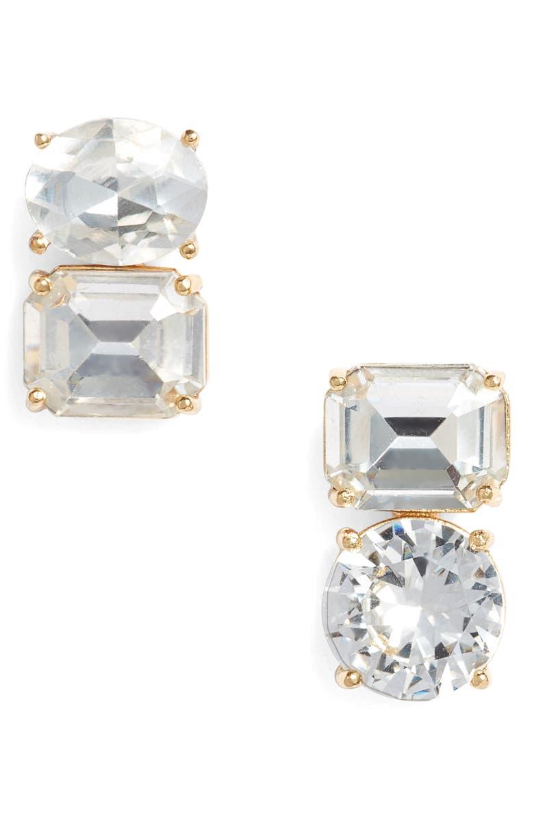 KATE SPADE NEW YORK double drop asymmetrical stud earrings, Main, color, 710