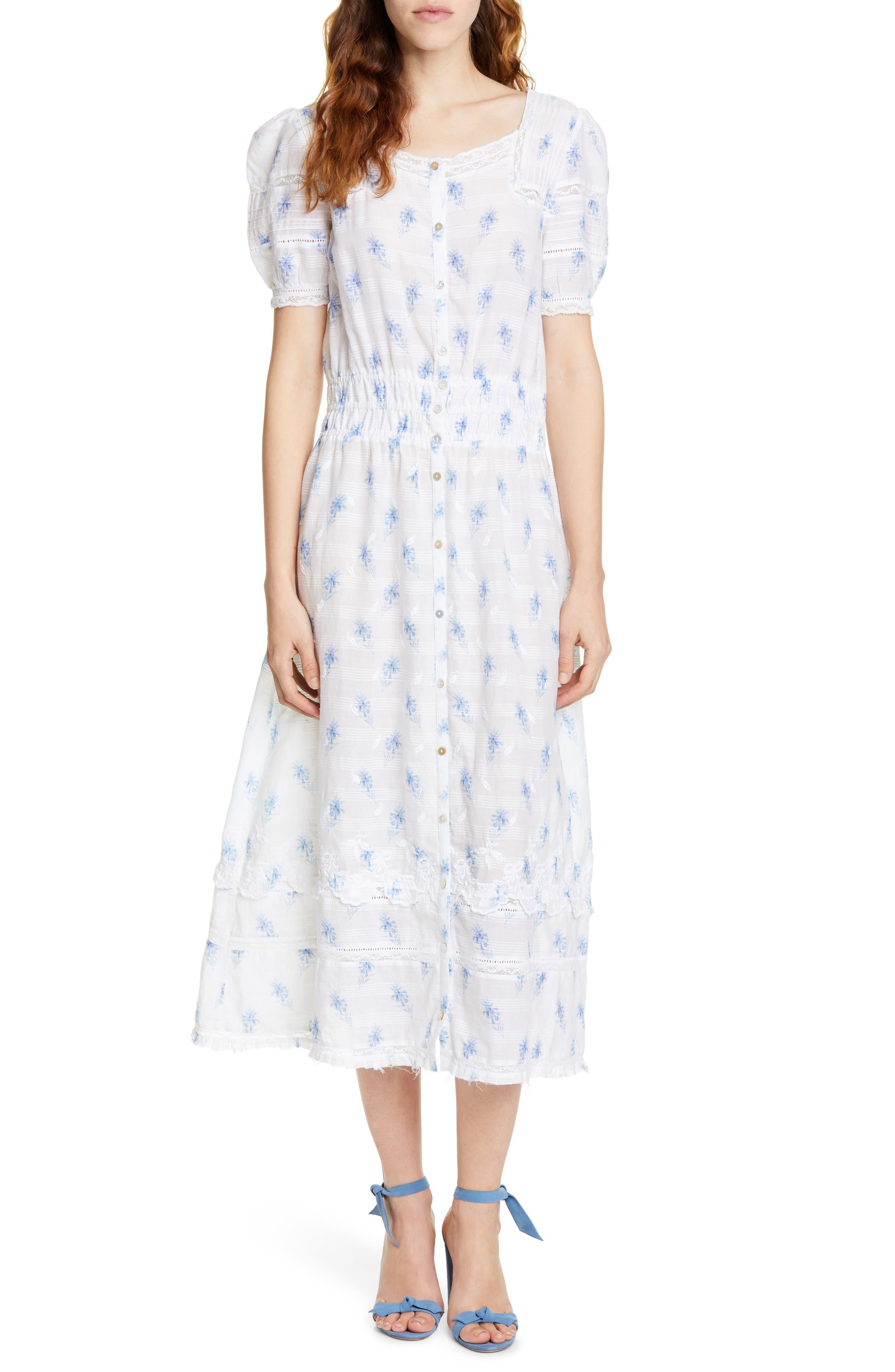 Loveshackfancy Sandy Lace Inset Midi Dress, Blue