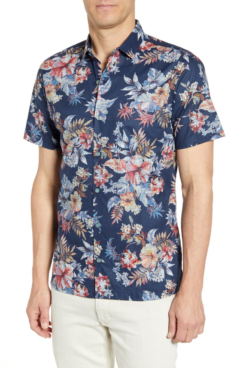 TORI RICHARD Flower Pressed Regular Fit Sport Shirt, Main, color, MIDNIGHT