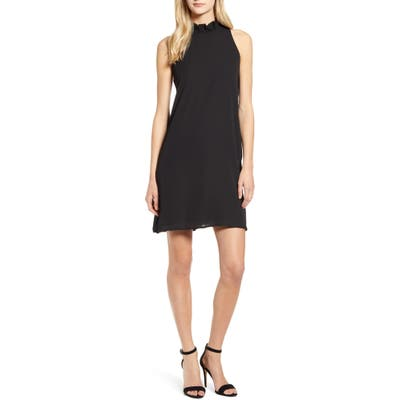 Petite Gibson X Hi Sugarplum! Cavallo Ruffle Neck Date Dress, Black