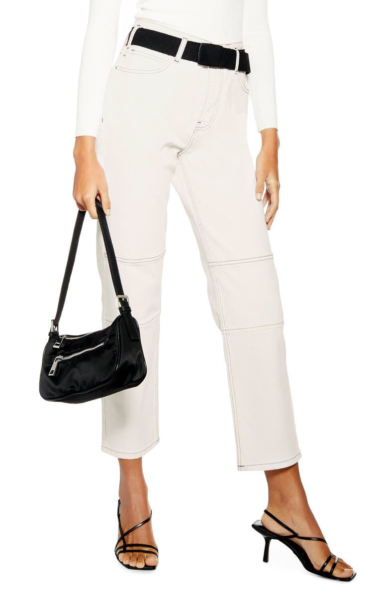 TOPSHOP Belted Utility Jeans, Main, color, CREAM