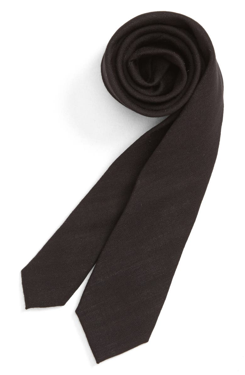NORDSTROM Solid Tie, Main, color, BLACK