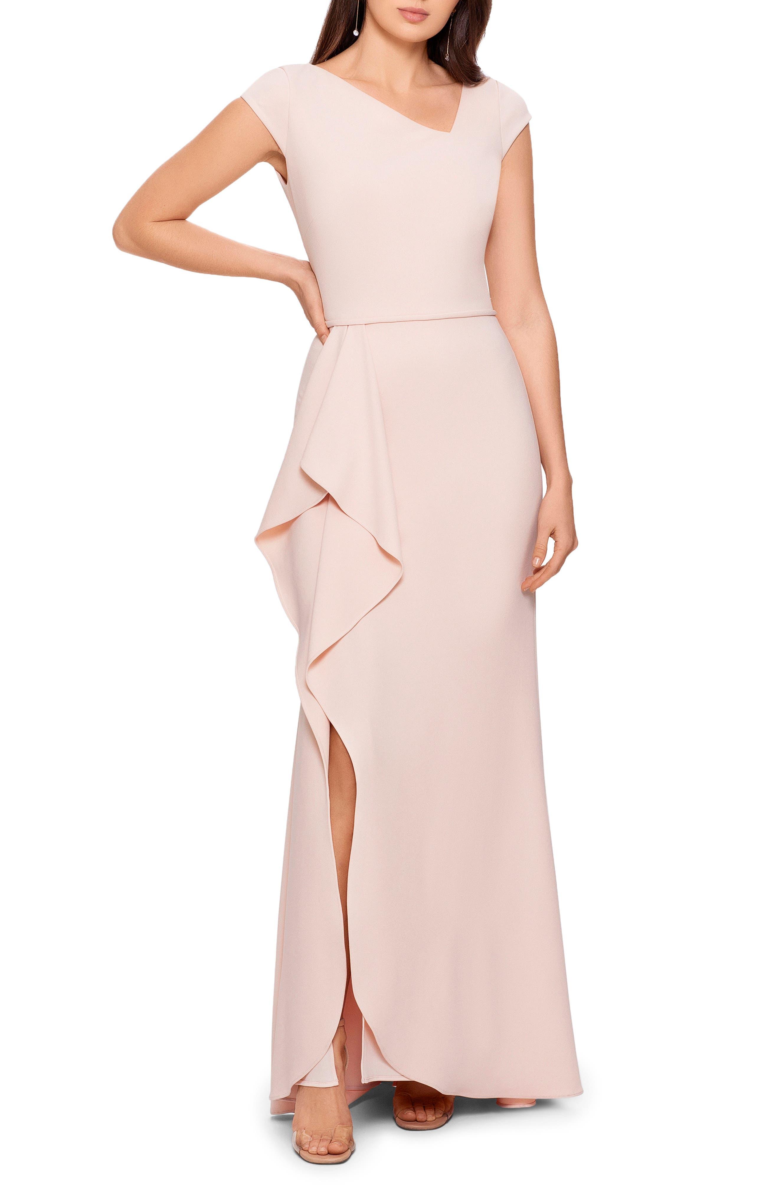 Asymmetric Neck Crepe Gown