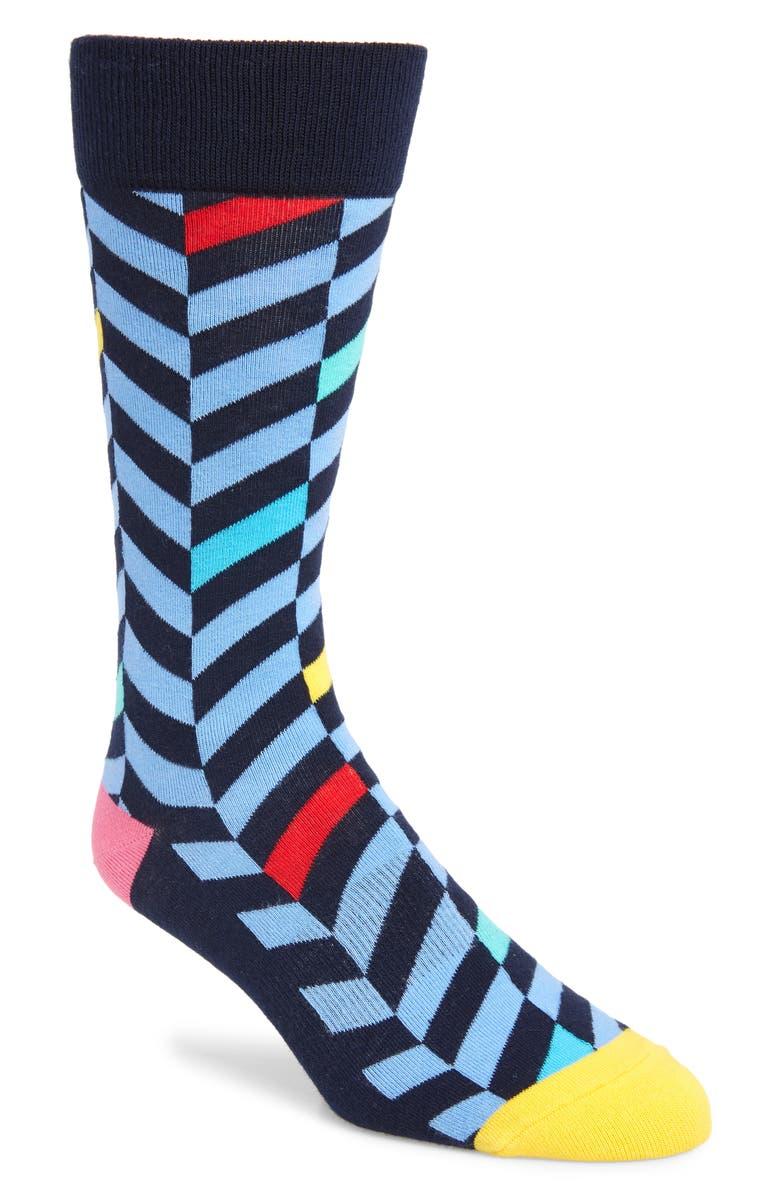 FUN SOCKS Twill Stripe Socks, Main, color, BLUE MULTI