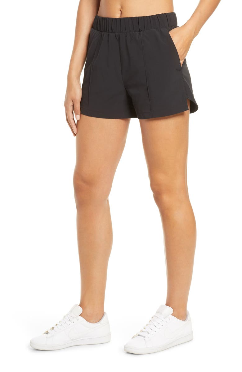ZELLA Taylor Getaway High Waist Recycled Polyester Shorts, Main, color, BLACK