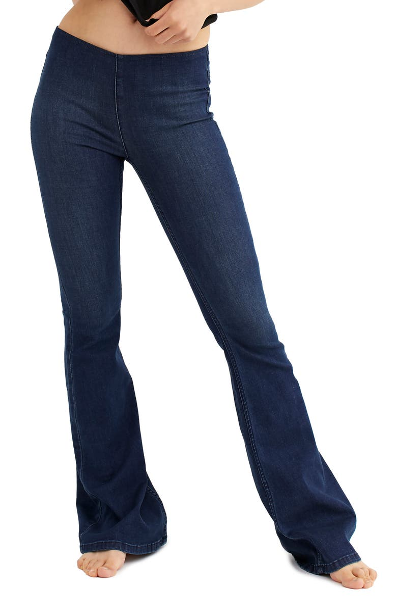 FREE PEOPLE Penny Flare Jeans, Main, color, DENIM BLUE