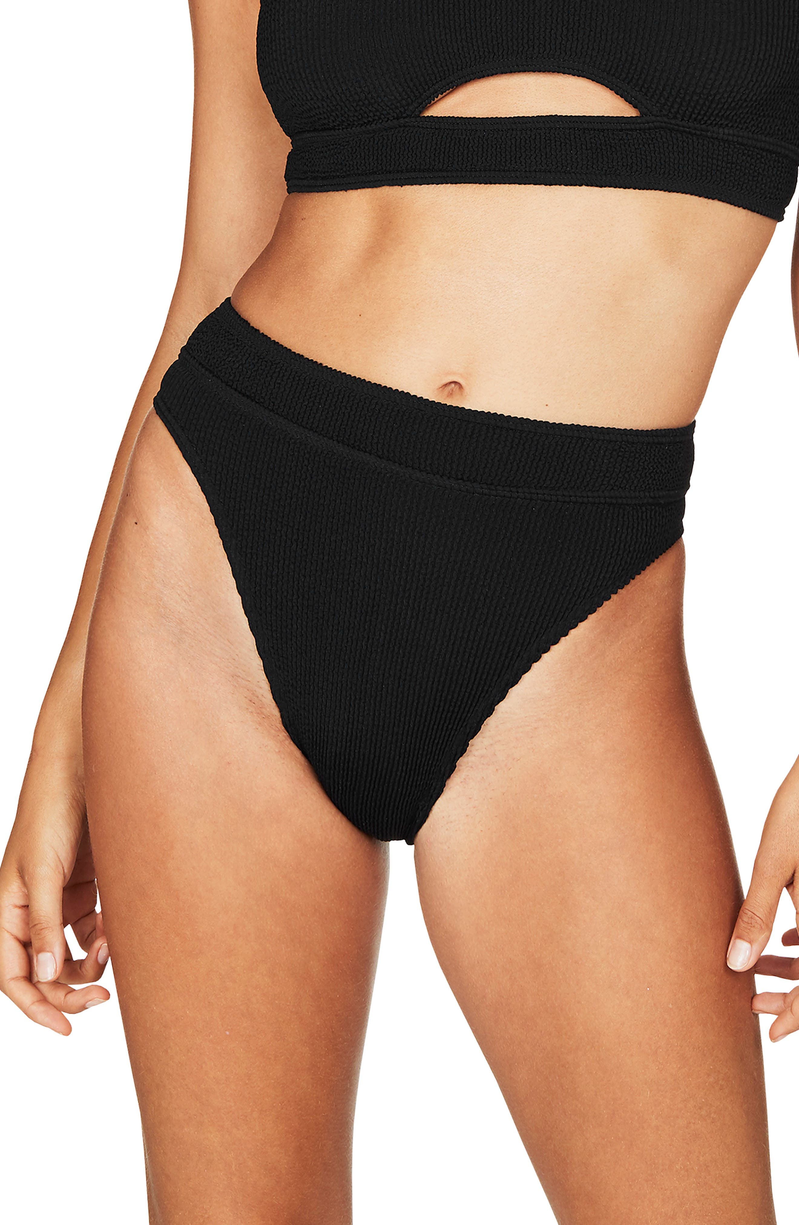 Flaunt it if you got it in these high-waist bottoms cut from stretchy and resilient ribbed MAXXAM fabric with a barely there Brazilian back. Style Name: Bound By Bond-Eye The Savannah High-Waist Ribbed Bikini Bottoms. Style Number: 5770131 1. Available in stores.