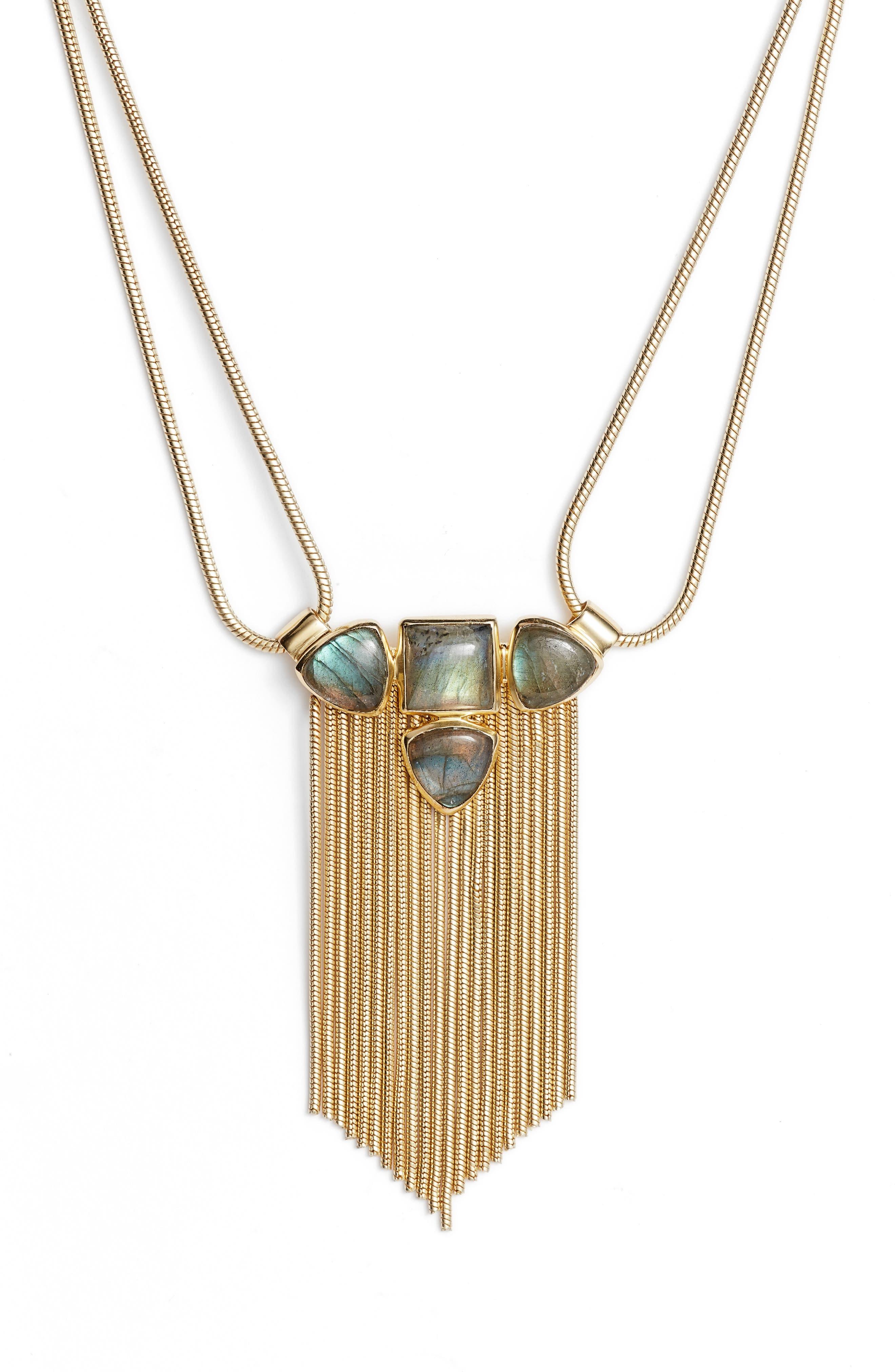 Image of Sole Society Labradorite & Fringe Pendant Necklace