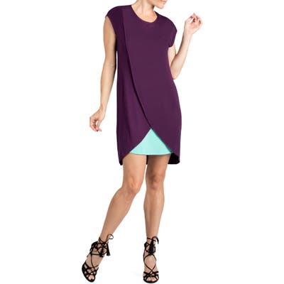 Savi Mom Lille Layered Maternity/nursing Sheath Dress, Purple