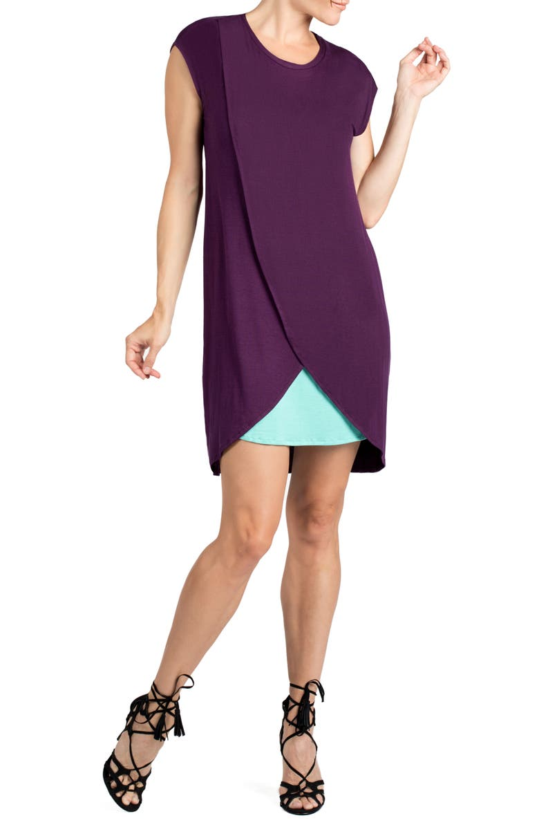 SAVI MOM Lille Layered Maternity/Nursing Sheath Dress, Main, color, EGGPLANT/ DARK MINT CONTRAST