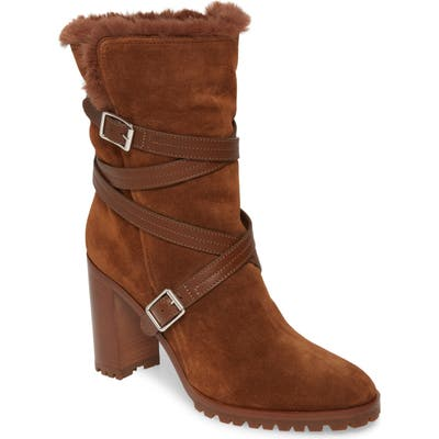 Gianvito Rossi Faux Shearling Lined Wrap Belt Boot, Brown