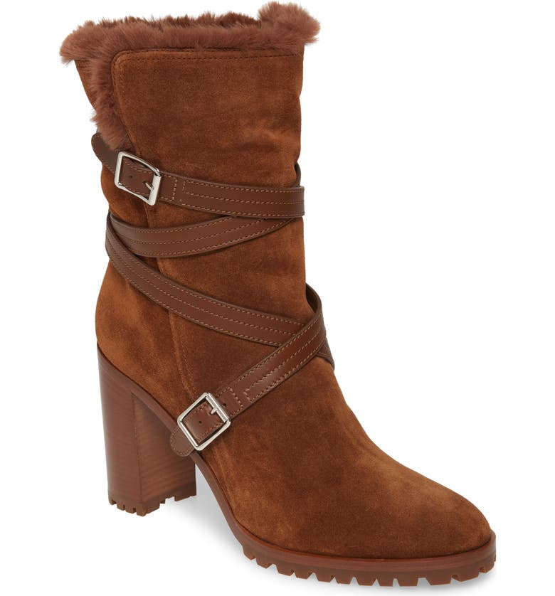 GIANVITO ROSSI Faux Shearling Lined Wrap Belt Boot, Main, color, TEXAS BROWN