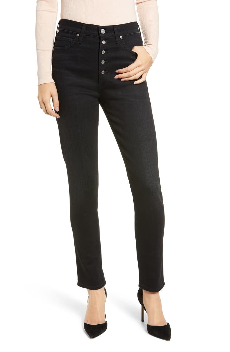 CITIZENS OF HUMANITY Olivia High Waist Slim Jeans, Main, color, LICORICE