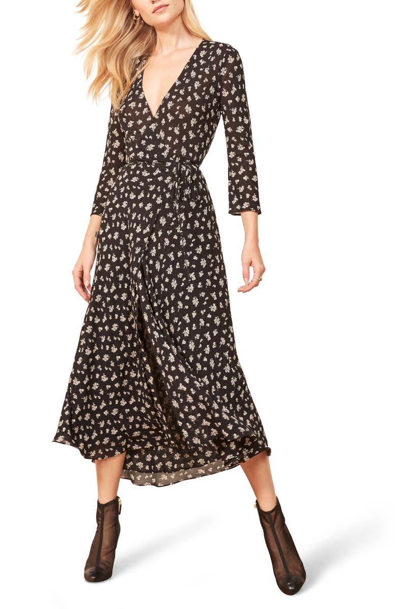 REFORMATION Jaz Wrap Midi Dress, Main, color, 001