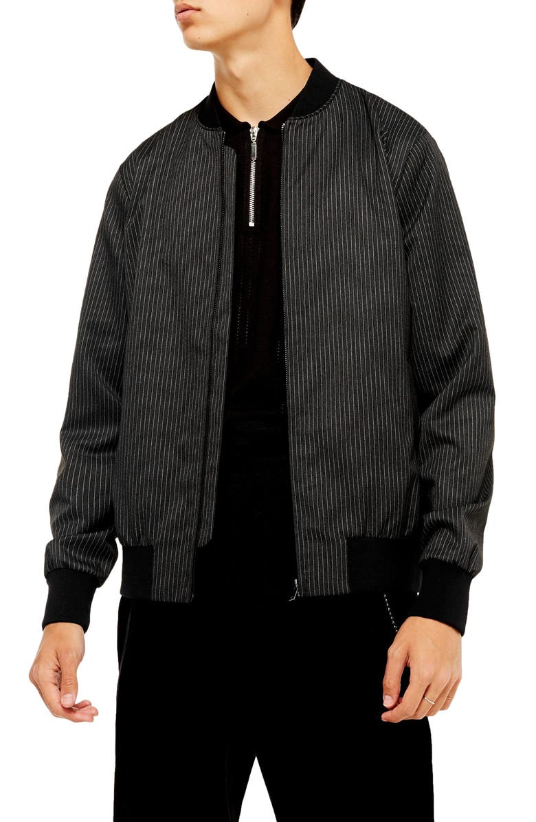 TOPMAN Pinstripe Bomber Jacket, Main, color, BLACK