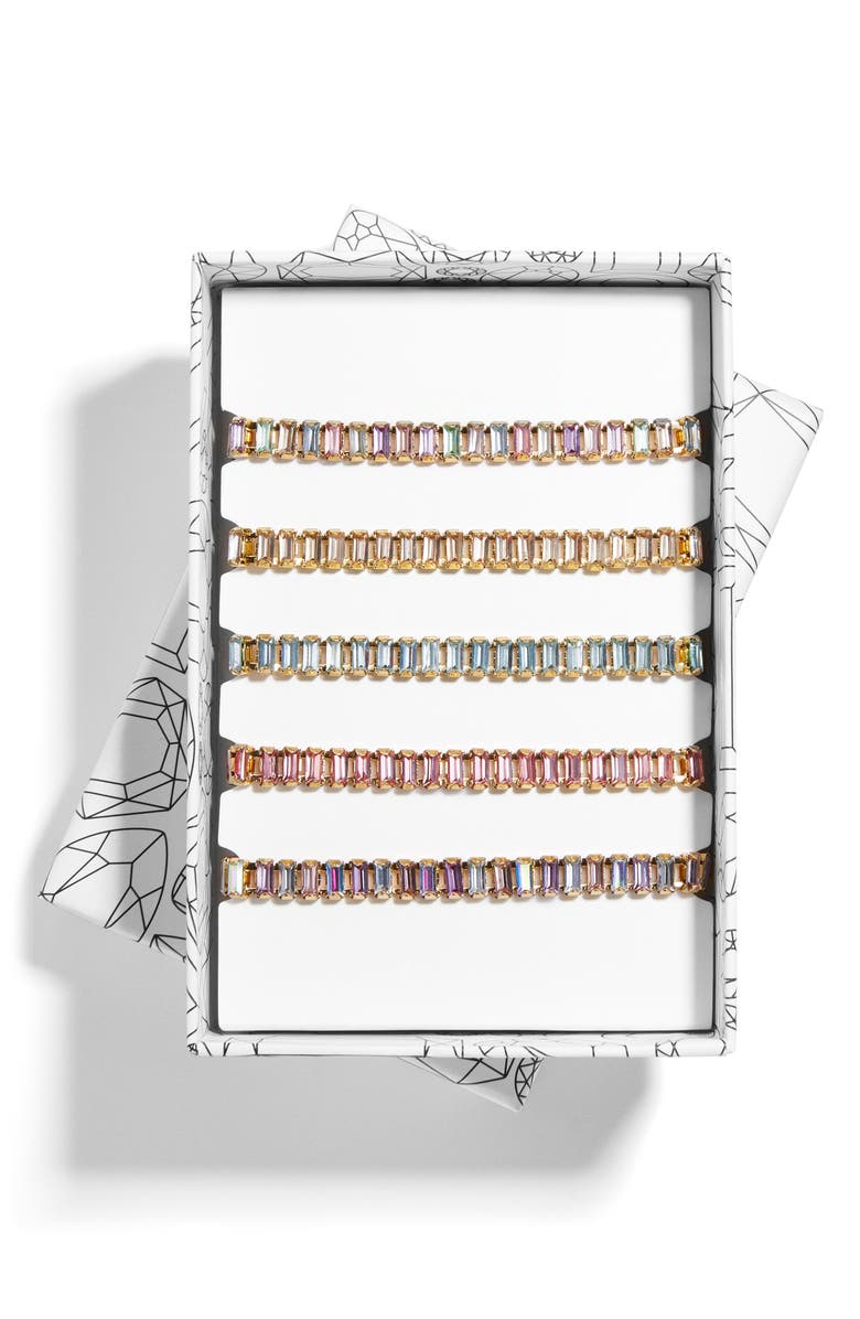 BAUBLEBAR Alidia Set of 5 Crystal Pull Through Bracelets, Main, color, PASTEL