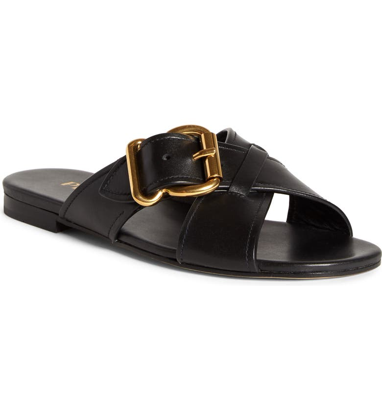 PRADA Buckle Slide Sandal, Main, color, BLACK LEATHER
