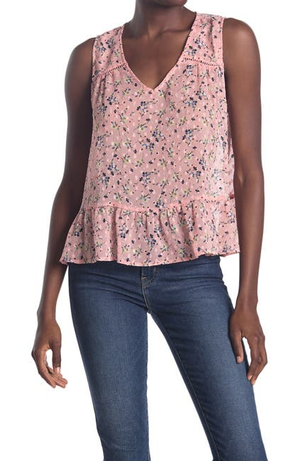 Image of ECLAIR Floral V-Neck Sleeveless Ruffled Top