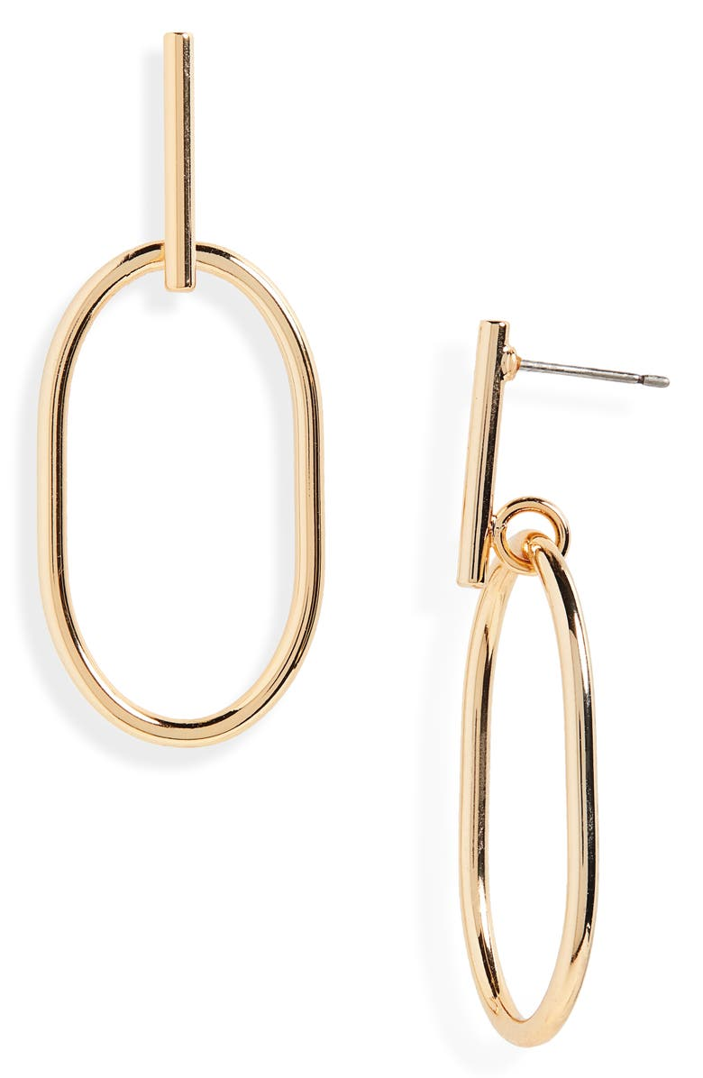HALOGEN<SUP>®</SUP> Oval Frontal Hoop Earrings, Main, color, GOLD