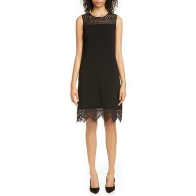 Carolina Herrera Guipure Lace Inset Shift Dress, Black