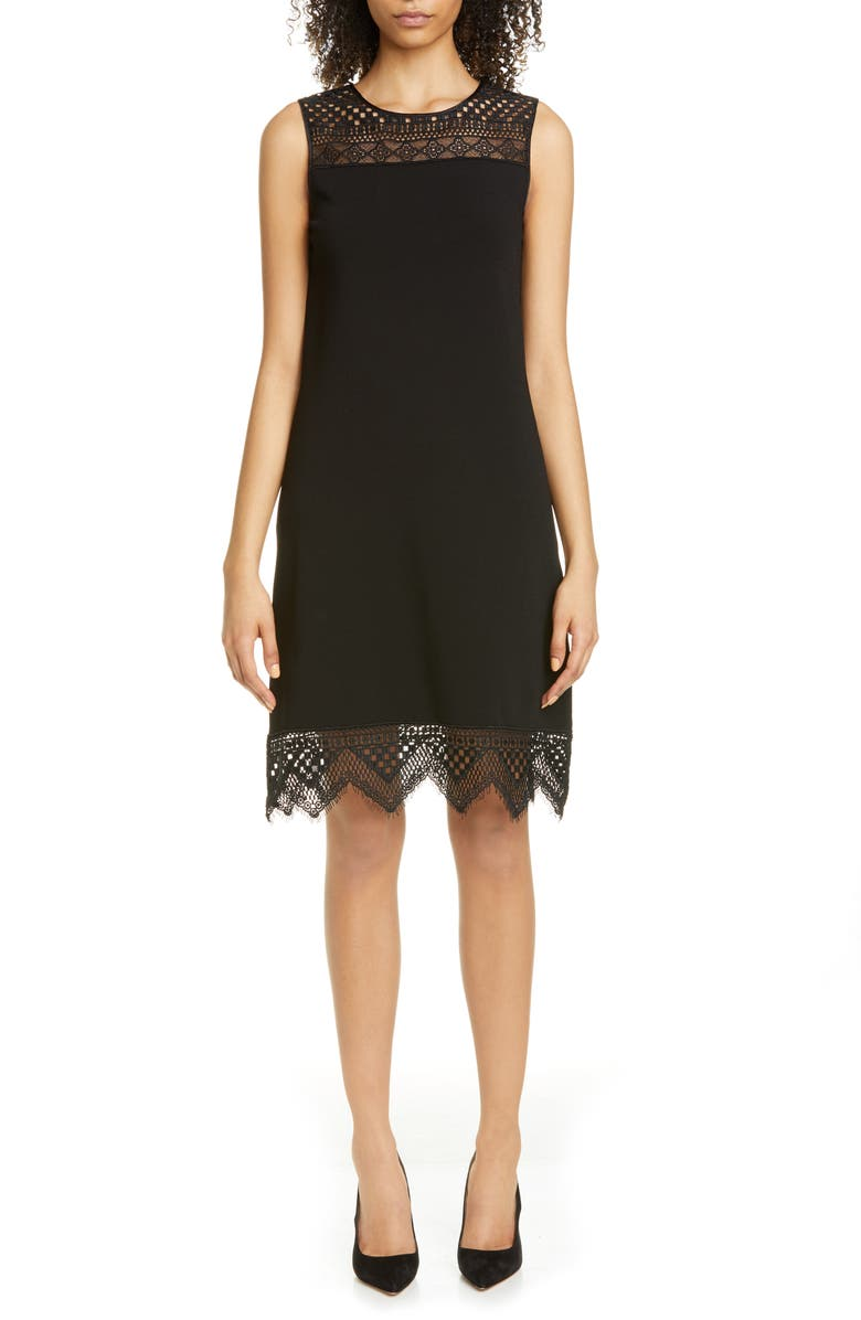 CAROLINA HERRERA Guipure Lace Inset Shift Dress, Main, color, 001