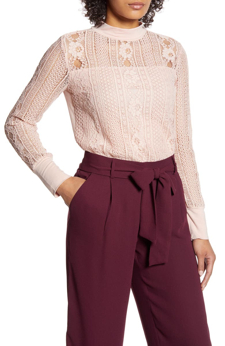HALOGEN<SUP>®</SUP> Lace Mock Neck Top, Main, color, PINK SMOKE