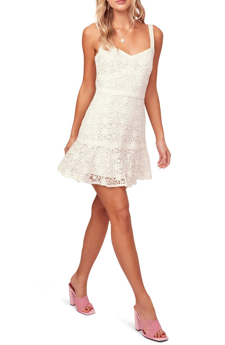 ASTR THE LABEL Carissa Lace Mini Sundress, Main, color, 100